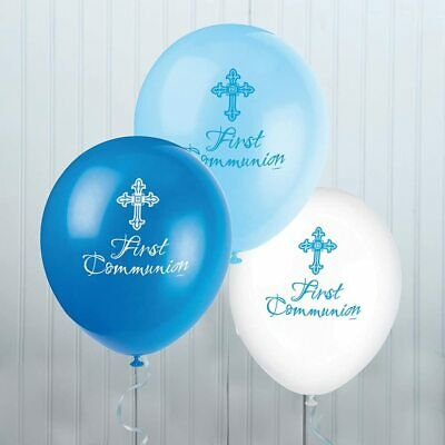 8 X First Holy Communion Latex Balloons Blue Boys Religious Party Decoration  • 3.29£