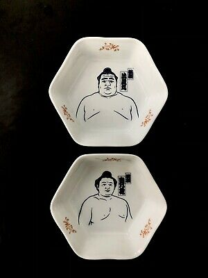 £31.99 • Buy Pair Of Unique Vintage Takanohana And Akebono Sumo Wrestler Bowls From Japan