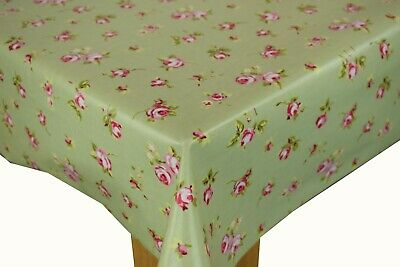 £7.99 • Buy Clarke And Clarke Rosebud Sage Green Cotton PVC WIPE CLEAN Tablecloth Oilcloth