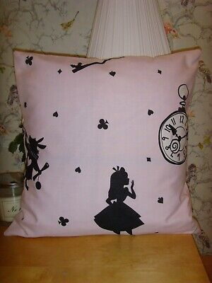 £7.99 • Buy  MADE In  ALICE IN WONDERLAND PINK  FABRIC  CUSHION COVER FOR 16in Pad