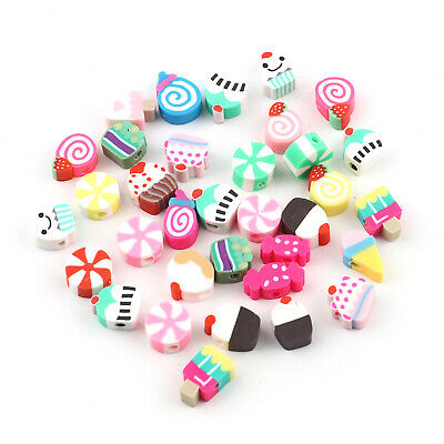 £3.99 • Buy Polymer Clay Cake Cupcake Food Design Beads Mixed Pack Cute Kitsch 50pcs