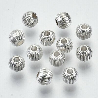 £2.09 • Buy 100pcs Small Tibetan Silver Round Spacer Beads Striped Patterned 4mm X 3mm