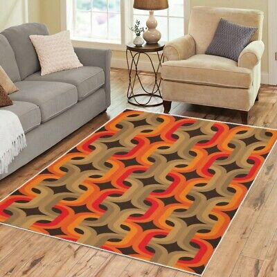 AU94.43 • Buy Mod Area 70s Rugs Retro Vintage Funky Pattern Boho Carpet-3 Sizes To Choose From