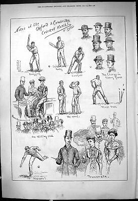 Original Old Antique Print Cricket Oxford Cambridge University Sport 1878 19th • 19£