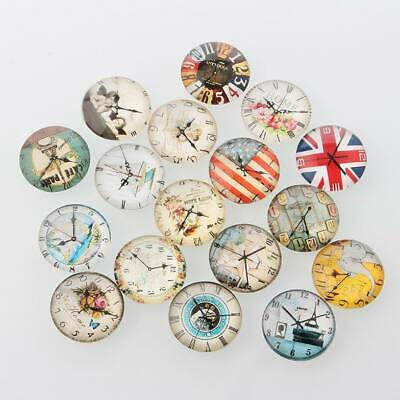 10 Round Glass Domed Cabochon 20mm Diameter Mixed Design CLOCK WATCH FACES • 2.75£