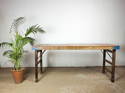 £250 • Buy Vintage Indian Wooden Folding Trestle Kitchen Dining Table (20 AVAILABLE)