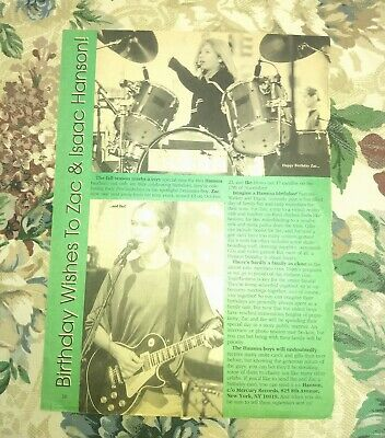 $ CDN14.56 • Buy Hanson Clipping Teen Magazine Double Sided Zac Taylor Isaac Vintage Pin Up