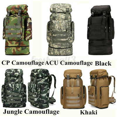 AU57.45 • Buy 80L Large Military Tactical Backpack Rucksack Camping Hiking Bag Sport