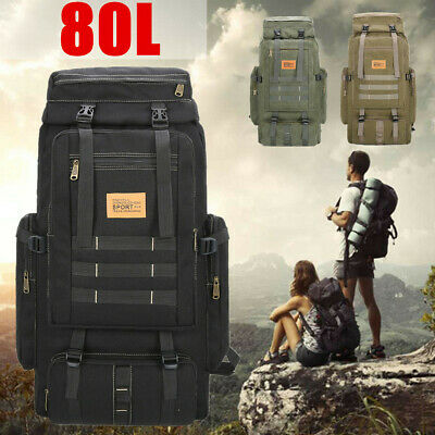 AU56.59 • Buy 80L Large Outdoor Military Hiking Canvas Backpack Rucksack Travel Shoulder