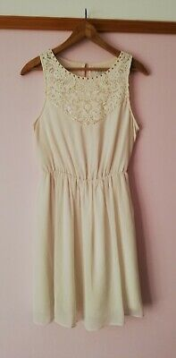 AU1 • Buy Forever New Stud Lace Dress Ivory Cream Party Cocktail Midi White Pretty 10 VGC