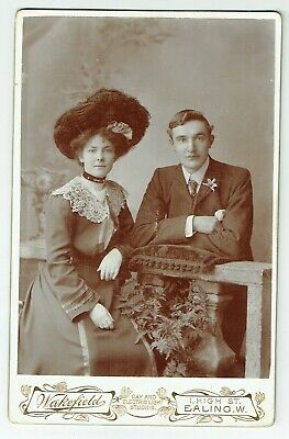 Victorian Cabinet Photo Young Couple Lady Large Hat Ealing  London Photographer • 3.50£