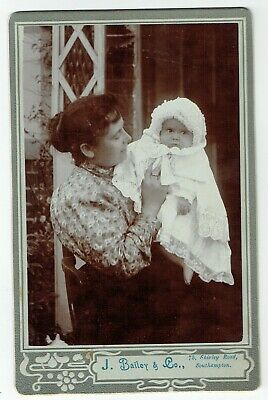 Victorian Cabinet Photo Young Woman & Baby Southampton  Photographer • 3.50£