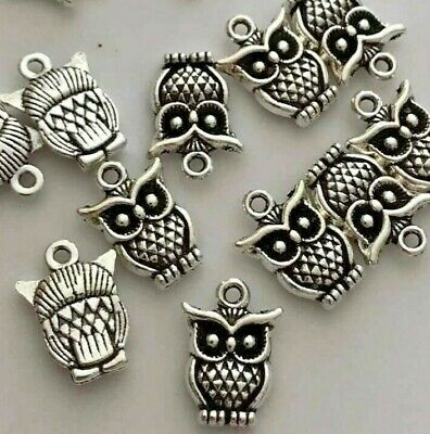 £1.99 • Buy 10 Or 20 Tibetan Silver Little Wise Owl Charms 18mm X 12mm C53