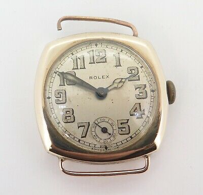 AU530 • Buy Vintage 1930s Rolex Mens 9K Solid Gold Cushion Shape Wrist Watch $1 NO RESERVE