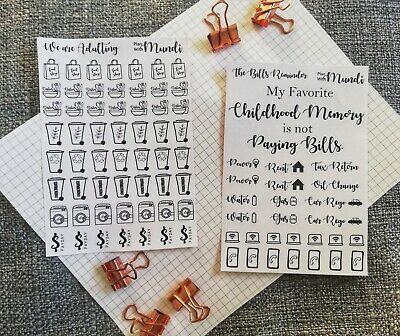 AU4.20 • Buy  Adulting  & Bills Bullet Journal Stickers - Important Events, Planner Labels