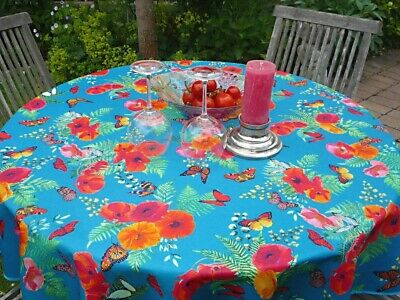 £16.60 • Buy Tablecloth Provence 160 CM Round Turquoise With Poppy From France Non-Iron