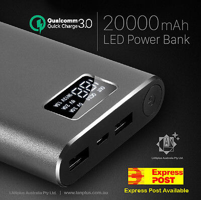 AU39.99 • Buy New Qualcomm Quick Charge QC3.0 20000mAh Dual USB Charger LCD Display Power Bank