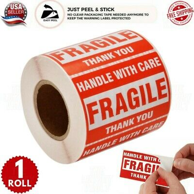$9.86 • Buy Fragile Stickers 1 Roll 500 2x3 Fragile Label Sticker Handle With Care Mailing