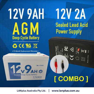 AU50.99 • Buy 12V 9AH SLA Rechargeable Battery With 12V 2A Power Supply / Battery Charger
