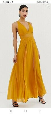 AU18 • Buy ASOS Dress Size 12, Gold/mustard, Full Length, Maxi, Event, Wedding, Night Out
