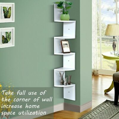 AU37.50 • Buy 5 Tier Corner Wall Shelf  Photo Trophy Ornament White Display Unit Stand Tiered