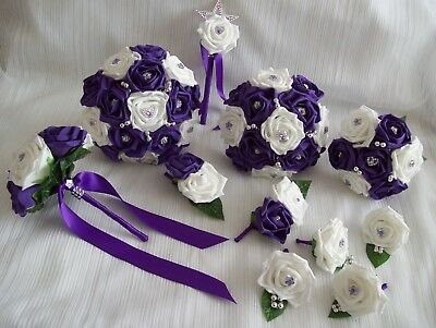 £67.50 • Buy Wedding Flowers Cadbury Purple & White Bouquet Posy Wand Buttonholes PACKAGE