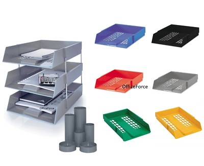 £15.50 • Buy Letter Filing Desk Trays Set X 3 Stacking A4 Size With Risers + Office Pen Tidy