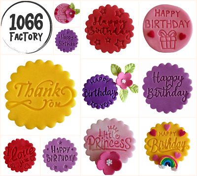 £4.95 • Buy Happy Birthday Love You Thank You Embosser Stamp Fondant Cupcake Icing Cookie