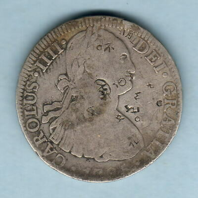 AU285 • Buy Mexico. 1795-FM 8 Reales.. AFine.. Various Chopmarks Mainly On Obverse