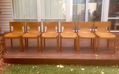 AU910 • Buy 6x Vintage FLER Leather Sling Dining Chairs Mid Century 1970's Danish Style