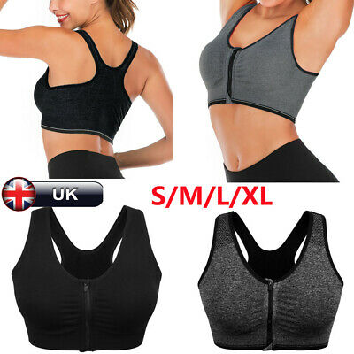 £4.86 • Buy Sports Bra Women Wireless Front Zip Padded Yoga Cami Push Up Vest Support Top