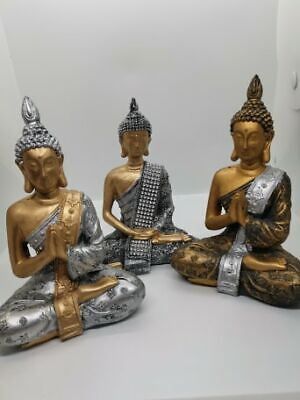Thai Buddha Figurine, Praying Buddhas Statue Sculpture,Meditation,Diamente,Black • 12.99£