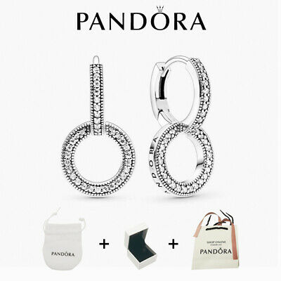 AU25.87 • Buy New Genuine Pandora Silver S925ALE Studs Pavé Double Hoop Earrings With/BAG+BOX