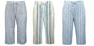 £14.99 • Buy M&S Linen Blend Striped Cropped Trousers Sizes UK 24,26,28,30 & 32 *NEW*
