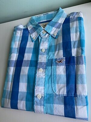 £4 • Buy Mens Hollister Checkered Shirt Size Small Blue Checked Classic Vintage