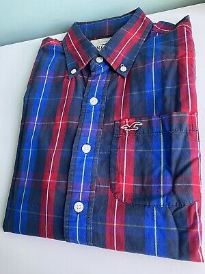 £4 • Buy Mens Hollister Checkered Shirt Size Small Red Blue Checked Classic Vintage