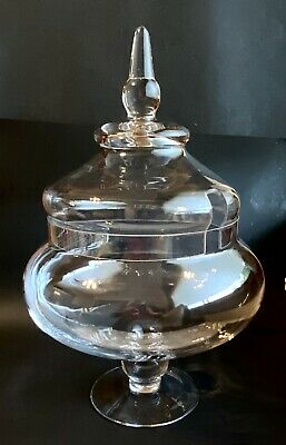 £65.34 • Buy Victorian Glass Apothecary Jar W Lid Champagne Punch Bowl Buffet Wedding Holiday