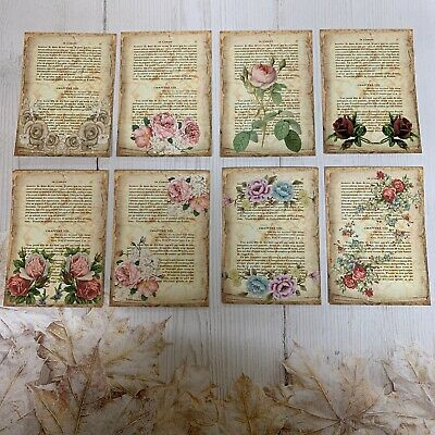 £2.99 • Buy Vintage French Flower Book Page Toppers Card Toppers/ Scrapbooking/journaling X8