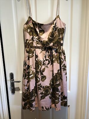 AU25 • Buy Review Dress Size 14 Pink, Brown & Olive Green