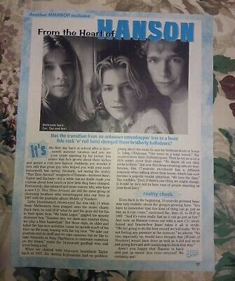 $ CDN9.72 • Buy Hanson Pin Up Clipping Teen Magazine Zac Ike Taylor Brothers A
