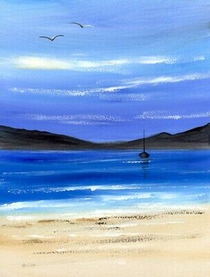 SEASCAPE WATERCOLOUR PAINTING, By The Sea, Boat, Beach, Sarah Featherstone ART • 12£