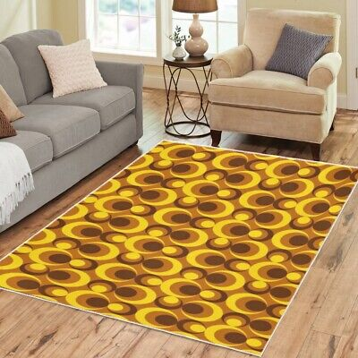 AU99.46 • Buy Mod Area Rugs Retro Vintage 70s Funky Boho Carpet - 3 Sizes To Choose From