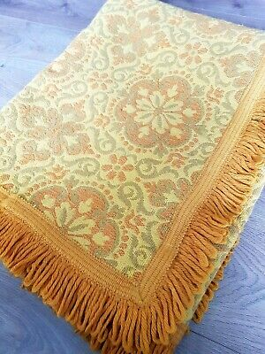AU71.29 • Buy Vintage 60s 70s Mustard Yellow Spanish Style Woven Fringed Rug Throw Mat Bed