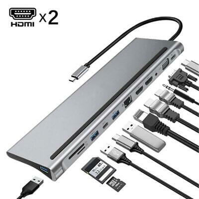 AU63.78 • Buy USB C HUB To HDMI 12 In1 VGA RJ45 Gigabit Ethernet Power Adapter Dock PD Charger