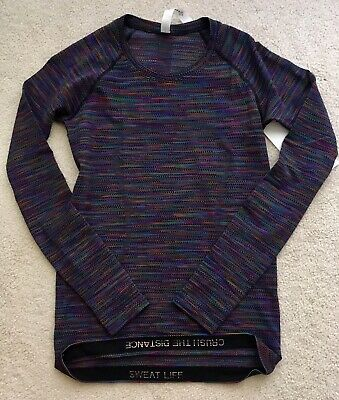 $ CDN169.99 • Buy Lululemon Swiftly Tech Long Sleeve Love Black Rainbow Sz 12