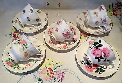 *5 Gorgeous 💕 Mismatched Pink Roses Vintage Bone China Tea Cups And Saucers* • 27.50£