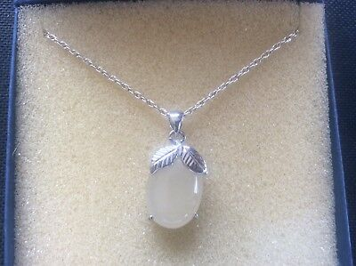 £24.99 • Buy Solid Silver 925 Necklace & Pendant Cabochon Stone In 18k White Gold Plate Mount