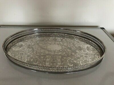 £59.99 • Buy Lovely Viners Silver Plated Oval Shaped Chased Gallery Tray (tr-jj6)