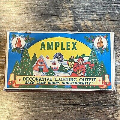 $ CDN42.45 • Buy Vintage Retro AMPLEX Christmas Lights Winter Scene Lamps Working W/ Box