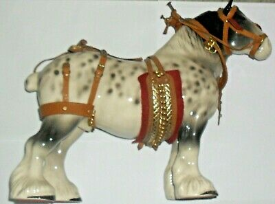 Large Dapple Grey Shire Horse Figurine With Full Tack.   11.5  Tall • 12.99£